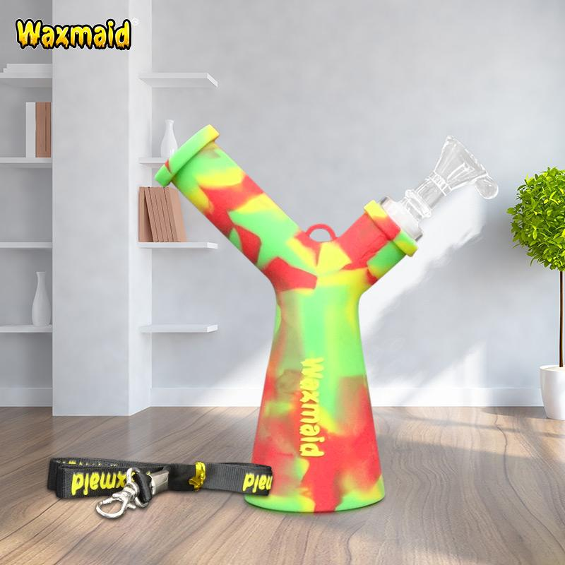 Bong Water Pipe Mr Y Mini Dab Rig Silicone Bubbler Smoking Oil Rig with Lanyard and Glass Bowl