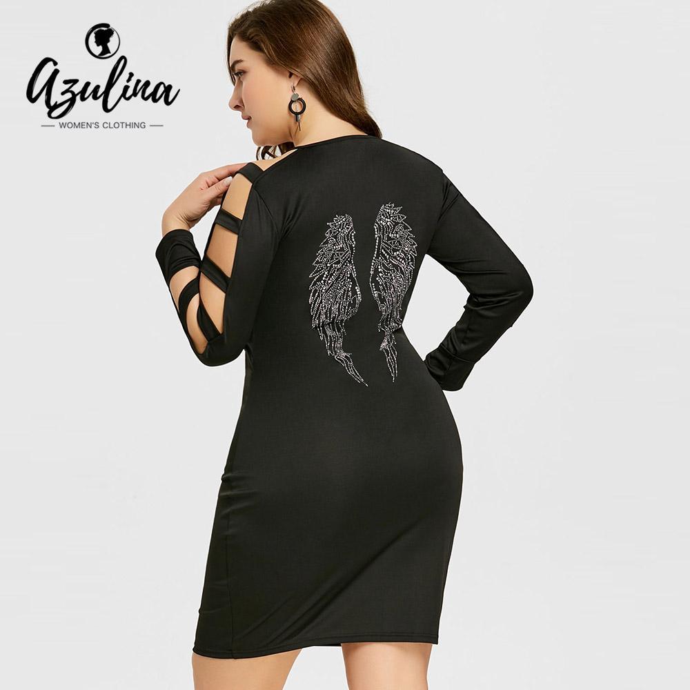 2018 Azulina Plus Size Ladder Cut Long Sleeve Fitted Dress Women ...