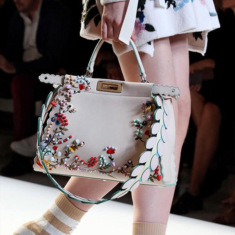 023990cce19f Brand Hot Women Peekaboo Bag Embroidery Famous Brand Designer Tote Handbag  Shoulder Bags Printing Rivet Waves Luxury Bag Purse Leather Backpacks  Shoulder ...