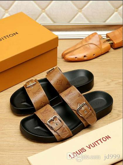 c058b0aaaa515 Brand Men's Flat Sandals Cheap Women Casual Shoes Male Double Buckle Summer  Beach Top Quality Genuine Leather Slippers
