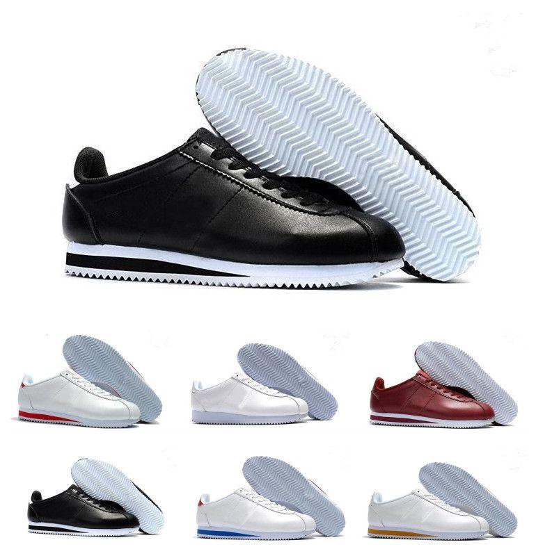 new product 4f206 6bf7b 2018 Nueva Marca Hombres Mujeres Clásico Cortez Zapatos Ocio Conchas Zapatos  Para Correr QS Cuero Transpirable Moda Exterior Zapatillas De Deporte  Tamaño 36 ...