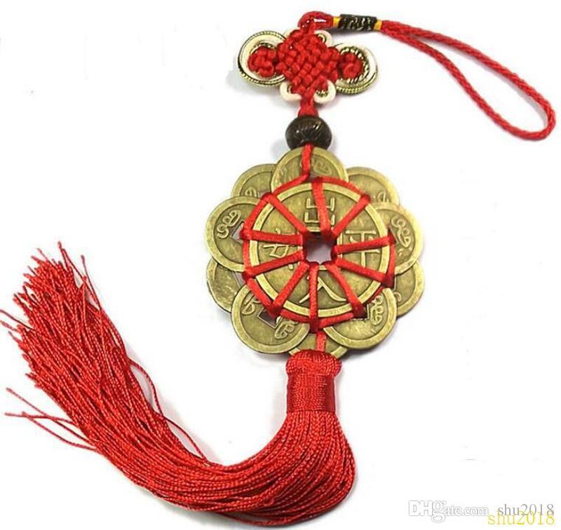 Nudo chino rojo FENG SHUI Conjunto de 10 Lucky Charm Ancient I CHING Monedas Protección de prosperidad Buena fortuna Envío gratis