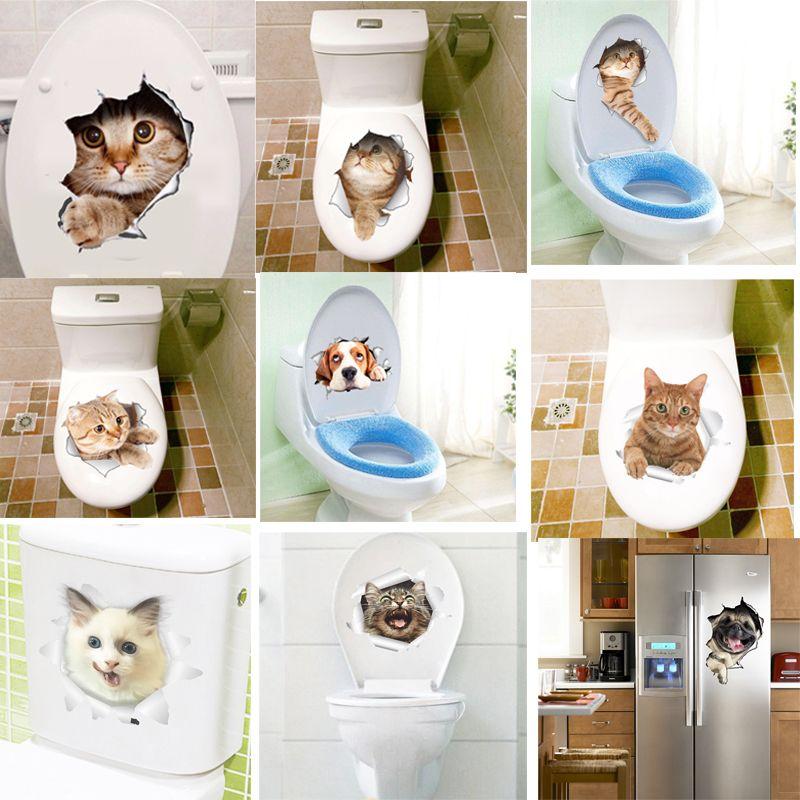 3D Effekt Katzen Toilette Schalter Wc Türaufkleber Cartoon Kühlschrank  Wandaufkleber Aufkleber Für Home Badezimmer Decor Poster