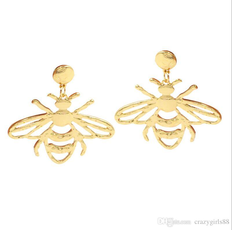 1d3e85b1f New Design Fashion Hollow out Bees Charm Ear Stud Gold Plated ...
