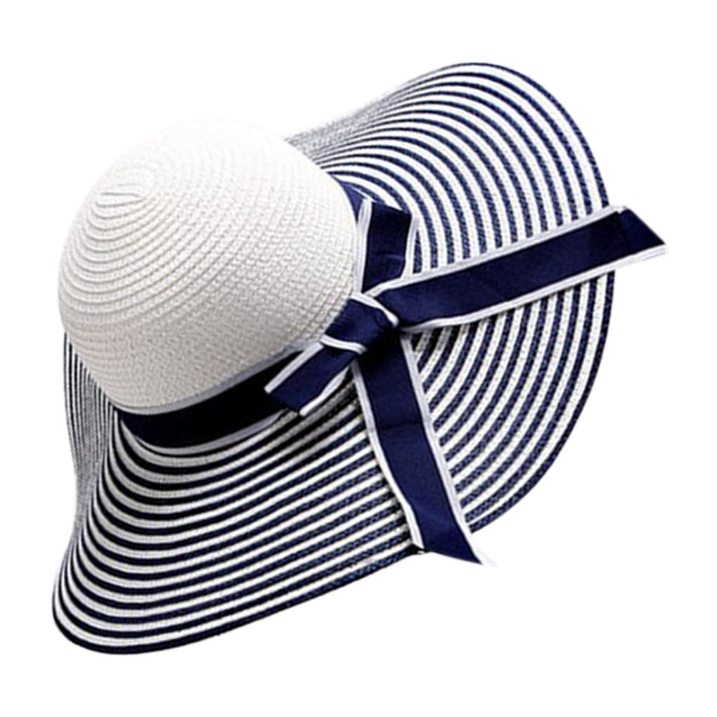 5b5dbe73f03 Black White Stripe Bowknot Women Girl Summer Wide Brim Hat Straw ...