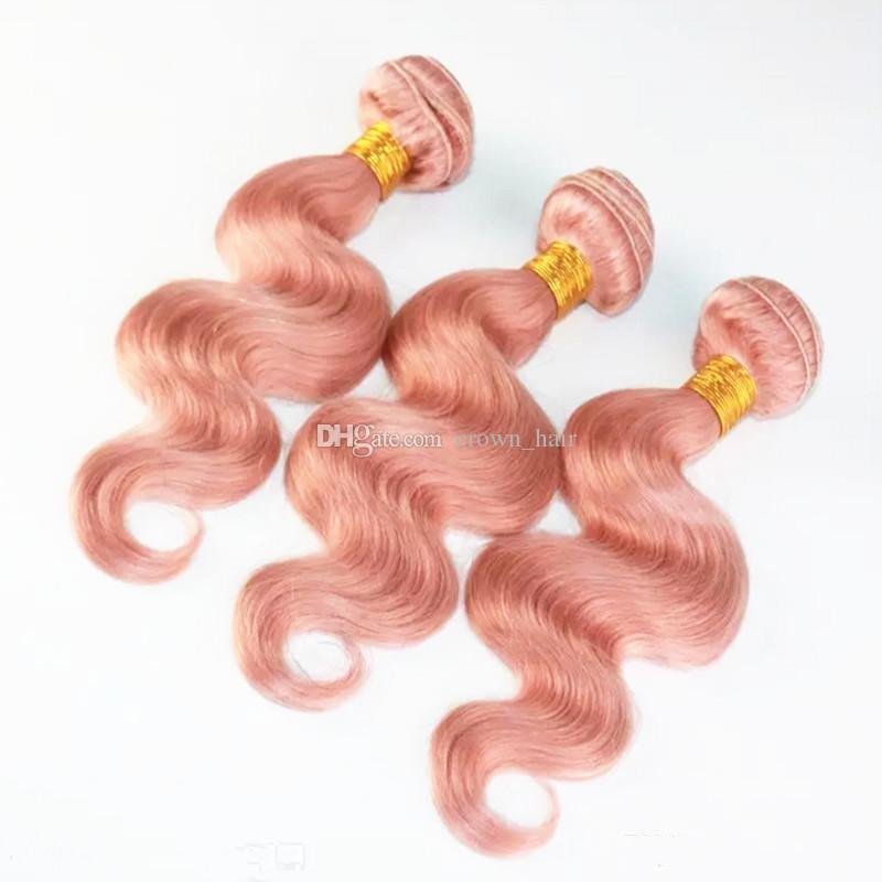 Бразильский объемная волна розовые наращивание волос с уха до уха фронтальная закрытие персик розовый волос 3Bundles с кружева фронтальная 13x4