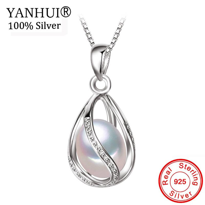 963226618fb0cc Wholesale YANHUI Classic Special Design 8 9mm Natural Pearl Pendant Necklace  With 45cm Silver Chain Pearl Necklace Wedding Jewelry DX0100 Gold Pendant  ...