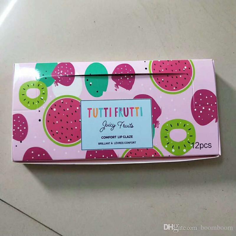 Maquillaje Lápiz Labial Tutti Frutti Glitter Glitter Brillo de Frutas Fruta Fruta comodidad labio esmalte 12 unids / set DHL freeshipping