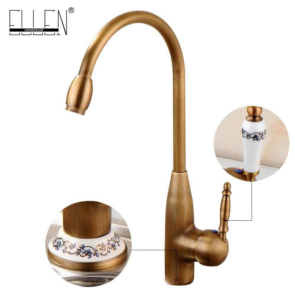 Wholesale-Antique Bronze Kitchen Sink Faucet Kitchen Crane Hot Cold ...