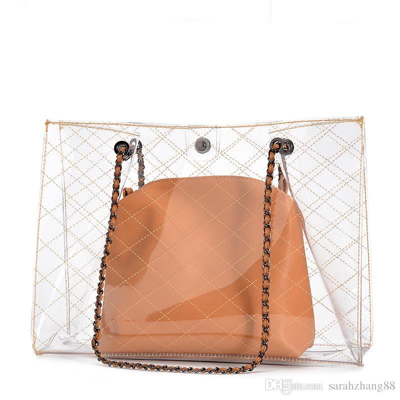 9b8df1c58909 2 In 1 Clear Tote Bag Women PVC Purse Waterproof Travel Bag Beach Handbag  Gym Sports Bag Weekend Bags Luxury Bags From Sarahzhang88