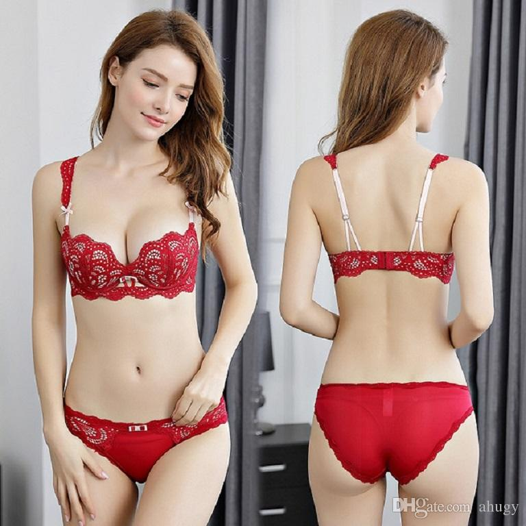 ad1dc016aaaf8 2019 New Sexy Women Underwear Small Breasts Lace Bras Sets Three Quarters  Of A Cup Bra Four Row Two Button Non Removable Shoulder Strap Lingerie From  Ahugy