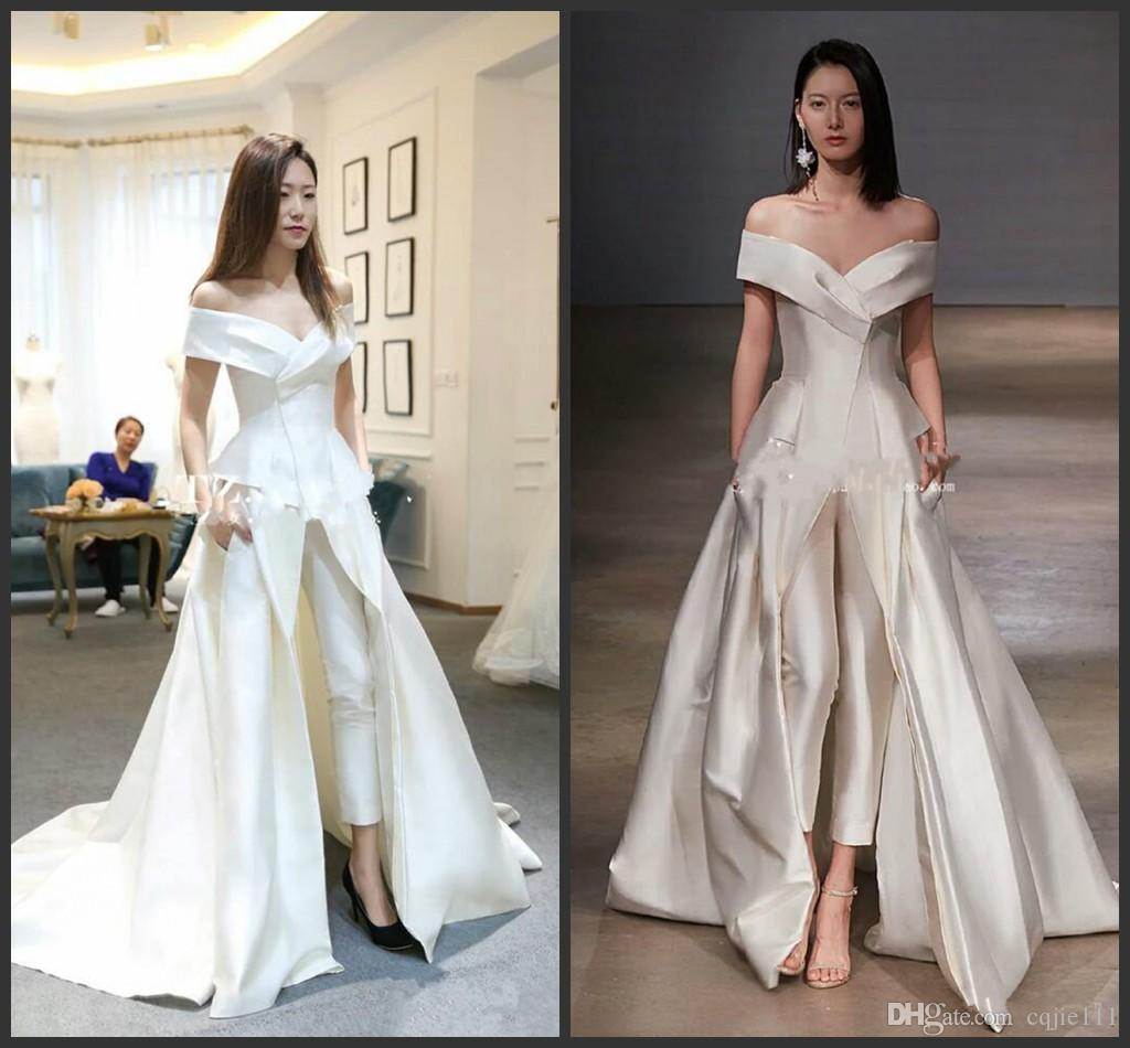 Wedding White Gowns For Womens: 2018 New Women Dresses Jumpsuit With Long Train White