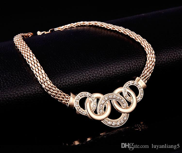 Fashion 18 k Punk Choker Necklace Earrings and Bracelet Ring Round new Statement Ethnic Punk Gold Color Party Gift Jewelry Sets Women 2018