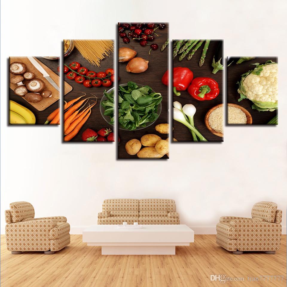 Satın Al Ev Mutfak Odası Sebze Tuval Boyama 5 Panel Hiçbir çerçeve