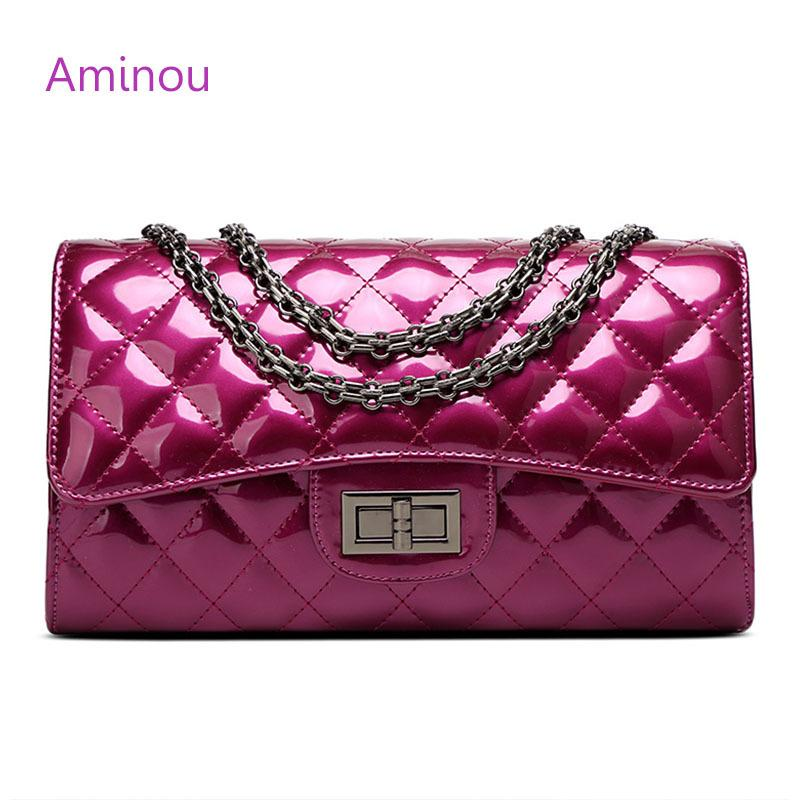 Aminou Luxury Patent Leather Women Handbags Brand Designer Quilted Chain Shoulder  Bag Crossbody Bag Sac a Main Femme Bolsa Y18102604 Online with ... 22adf670e566
