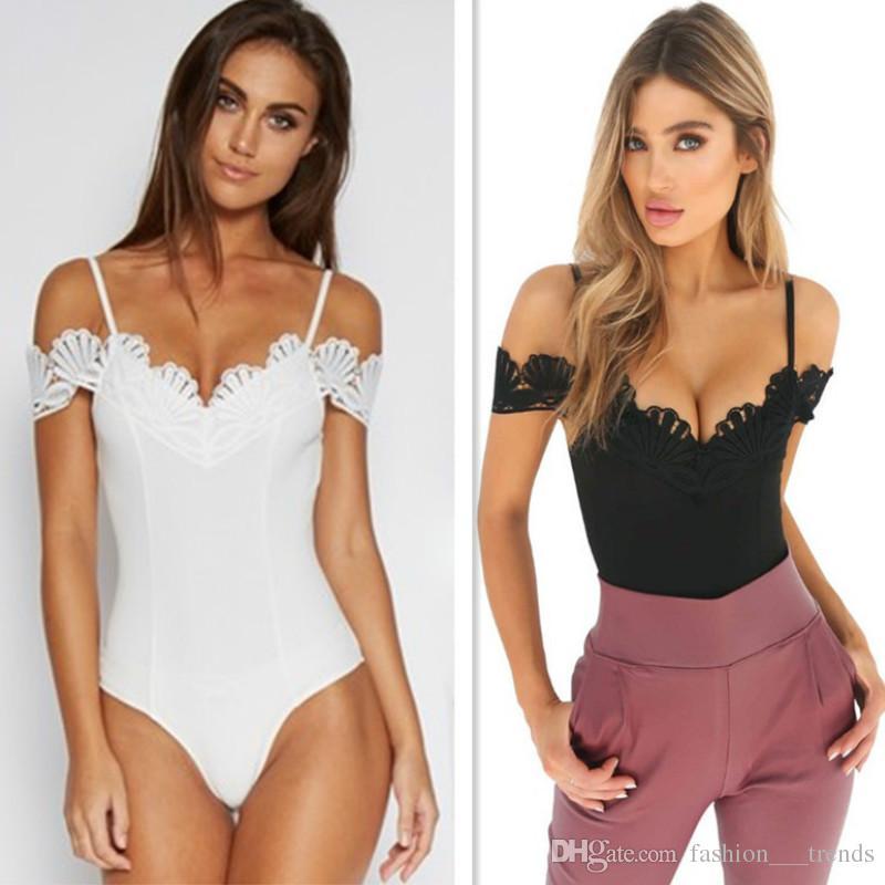 9e3c9fc6c0 2019 Sexy Black White Off Shoulder Jumpsuit Bodysuit Women Crochet V Neck Lace  Up Bodysuits Skinny Body Spaghetti Straps Jumpsuit Femme Romper From ...