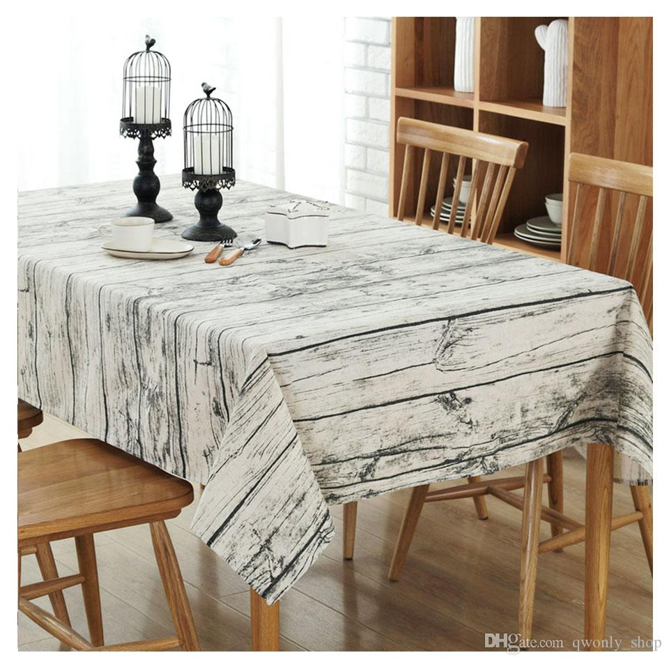 Wood Grain Tablecloth Cotton Linen Rectangle Table Cloth For Retro Cover Customizable Tablecloths Linens