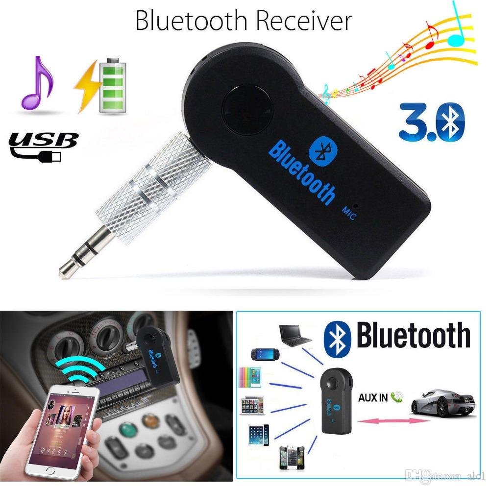 Universal 3 5mm Bluetooth Car Kit A2DP Wireless AUX Audio Music Receiver  Adapter Handsfree with Mic For Phone MP3 Retail Box