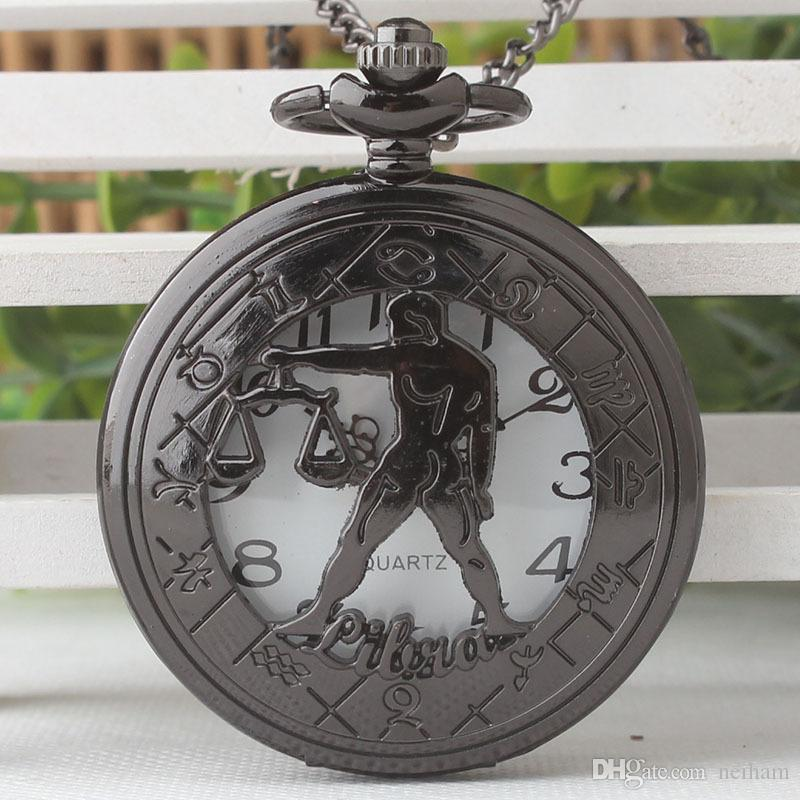 Birthday Gift Women Steampunk Libra Necklace Constellation Zodiac Pocket Watch Astrology Men Relogio De Bolso TPB194 Mechanical Watches Unique From