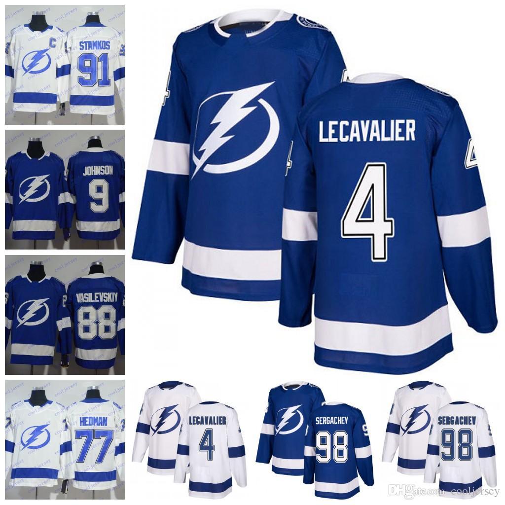 detailed look 0019a 9b73f 2018 Tampa Bay Lightning 4 Vincent Lecavalier 90 Vladislav Namestnikov 98  Mikhail Sergachev 26 Martin St. Louis Hockey Jersey Men Youth