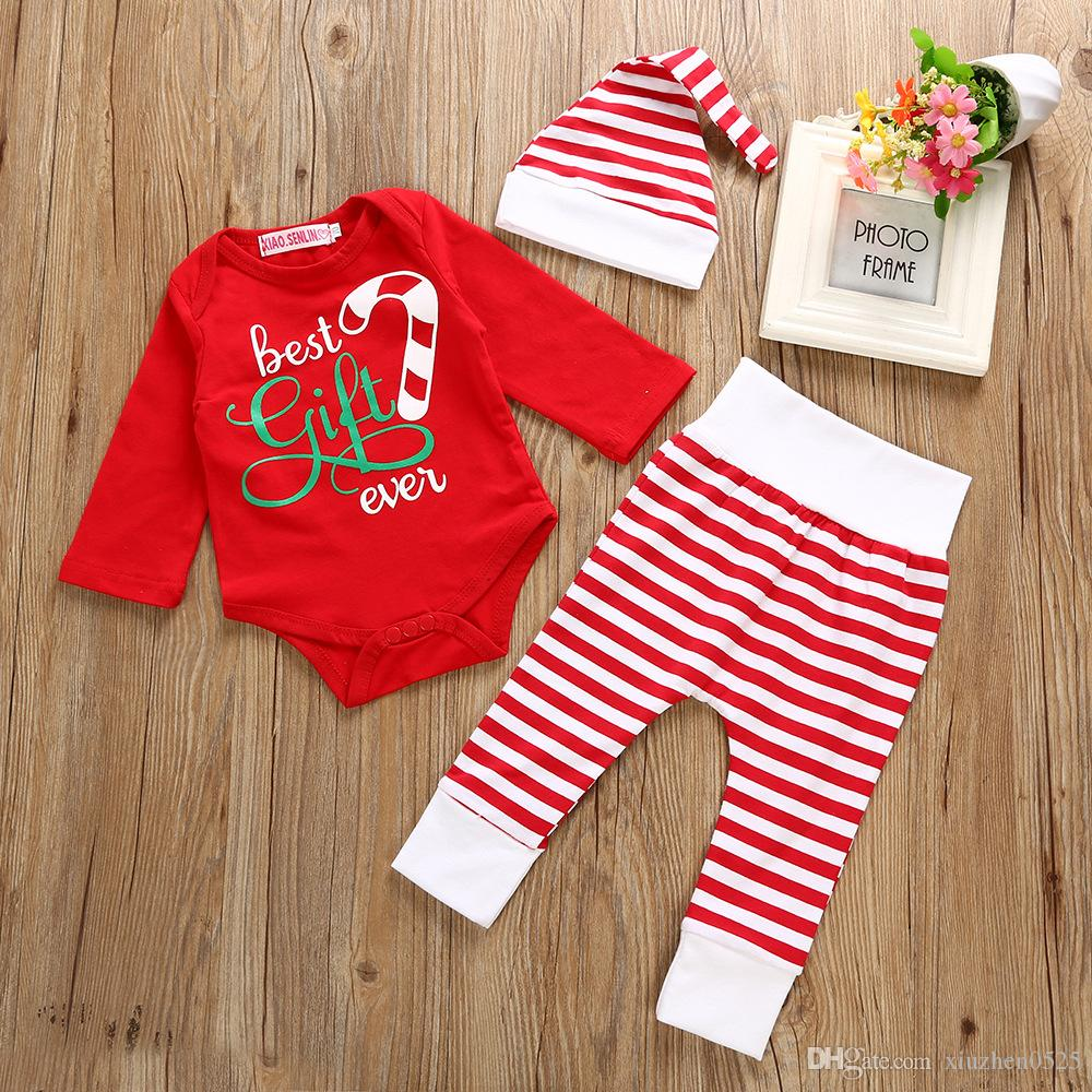 002a855d33bc 2019 Best Gift Ever Baby Xmas Newborn Clothes Infant Baby Boy Girl  Romper+Pants+Hat Christmas Outfits Set Toddler Christmas Clothing Costume  From ...