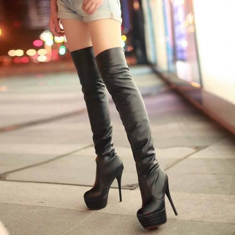 0571a7e95 2018 Women Boots Stretch PU Leather Over The Knee High Sexy Ladies Party  High Heels Platform Shoes Woman Black Plus Size 863io Black Boots Boots  Pharmacy ...