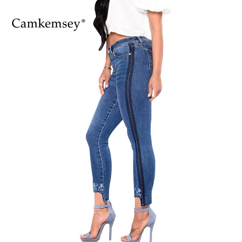 76af9a10e17 2019 CamKemsey Plus Size S 3XL Floral Embroidery Jeans Woman With Side Striped  Stretch High Waist Skinny Jeans For Women Denim Pants From Dalivid