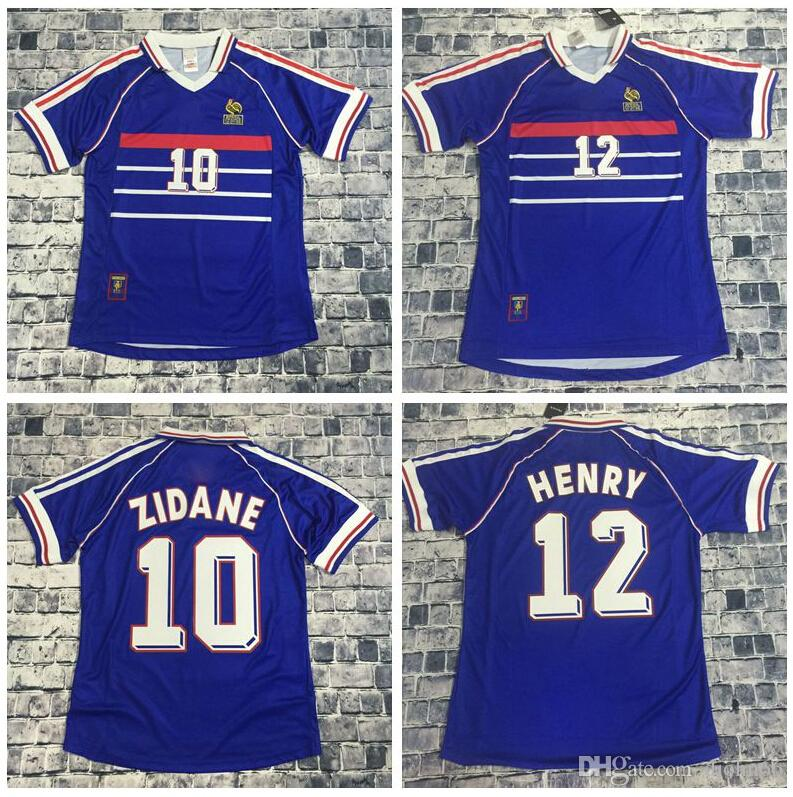 dc33749fe 2019 Big Size XXL 1998 Zidane Retro Soccer Jerseys Djorkaeff Henry Home  Deschamps 98 Classic Shirts Vintage Football Shirts Maillot De Foot From  Djohn66