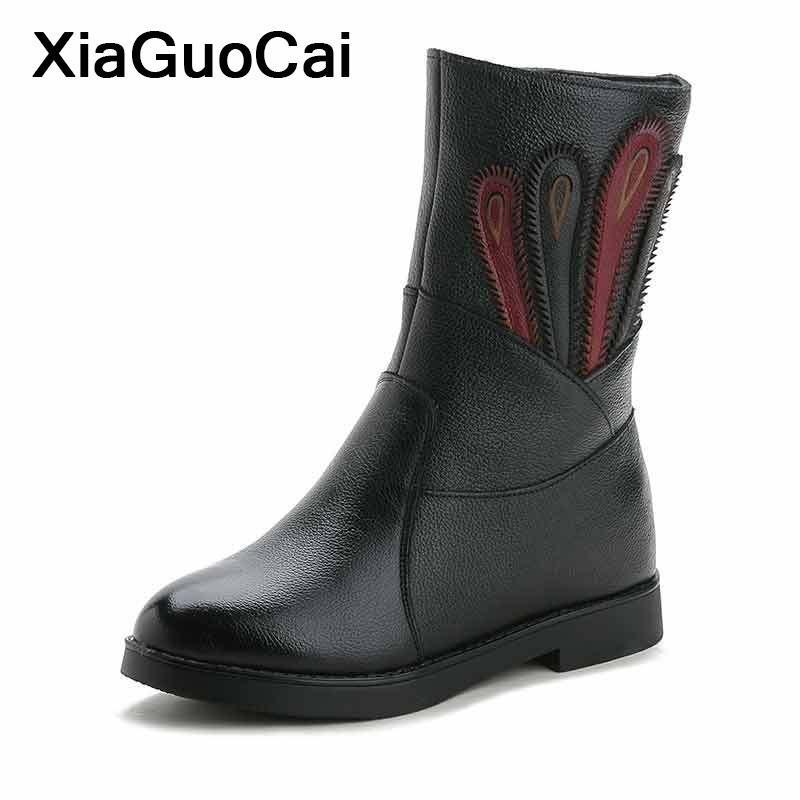 fea3b2bddd7 Compre Botas De Cuero Genuino Para Mujer Calzas Altas Para Mujer Zapatos De  Invierno Para La Madre Botas Cálidas Para La Nieve Con Pelaje Suave Y  Cómodo ...