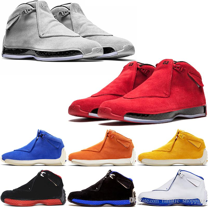 c512ade88664 New Basketball Shoes 18 18s Suede Sport Royal Toro Bred Cool Grey Blue  Yellow Orange Mens XVIII Fashion Designer Sports Sneakers 7 13 Cheap  Designer Shoes ...