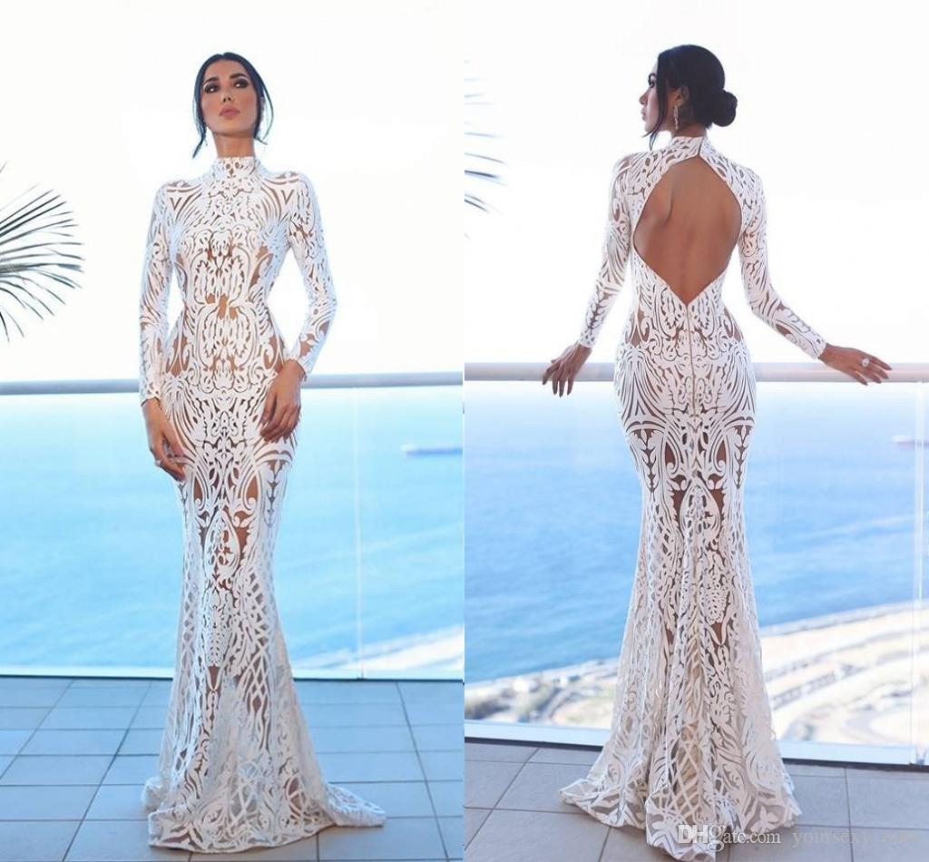 ce706e58d40 Sexy Lace Mermaid Evening Dresses High Neck Long Sleeves Open Back Floor  Length Illusion Saudi Arabic Prom Dresses Formal Gowns Glamorous Evening  Dresses ...