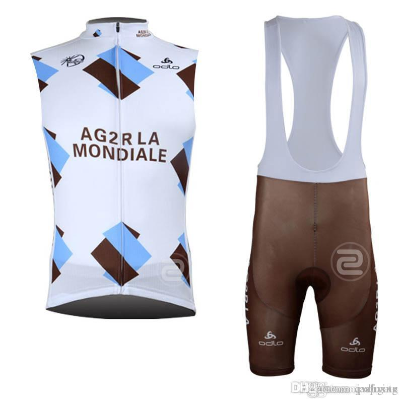 AG2R LAMPRE Team Cycling Sleeveless Jersey Bib Shorts Sets Cycling Clothing  Breathable Outdoor Mountain Bike Maillot Ropa Ciclismo E52608 AG2R Cycling  ... dfc9ffc64