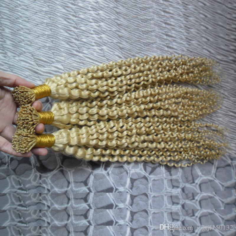 300g #613 Bleach blonde Nail I Tip Hair Extensions Kinky Curly Machine Made Remy Hair Pre Bonded Keratin Capsules Hair