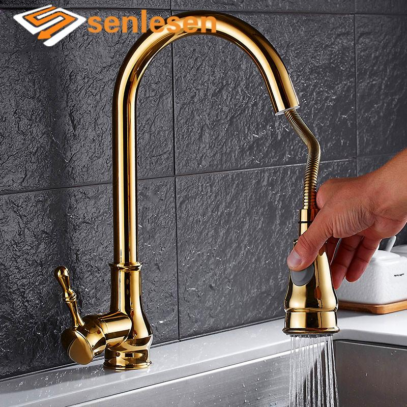2019 Senlesen Kitchen Sink Faucet Pull Out Sprayer Nozzle Gold Faucet Deck  Mount Hot And Cold Water Single Hanlde Para Kitchen Sink From Meetamo, ...