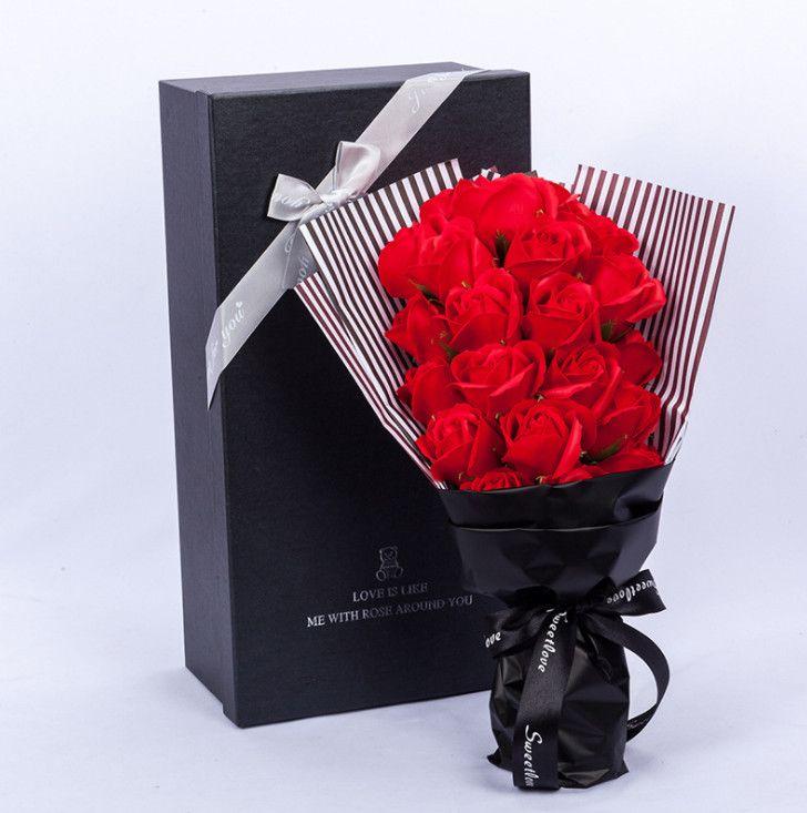 2019 2019 Mini Handmade Soap Rose Flower With Box Hardcover Diy