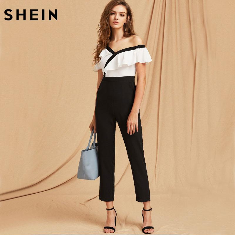 2449b0c1336 2019 SHEIN Jumpsuits For Women Black And White Two Tone Flounce Asymmetric  Shoulder Tailored Spring Autumn Long Sleeve Jumpsuit Y1891808 From  Shenyan01