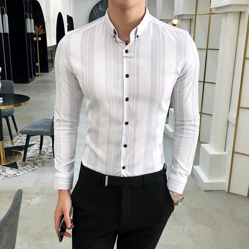930e9c93c5 Camicia da uomo di alta qualità di marca slim fit casual camicie sociali  uomini d'affari usura formale camicetta a righe homme night club prom ...