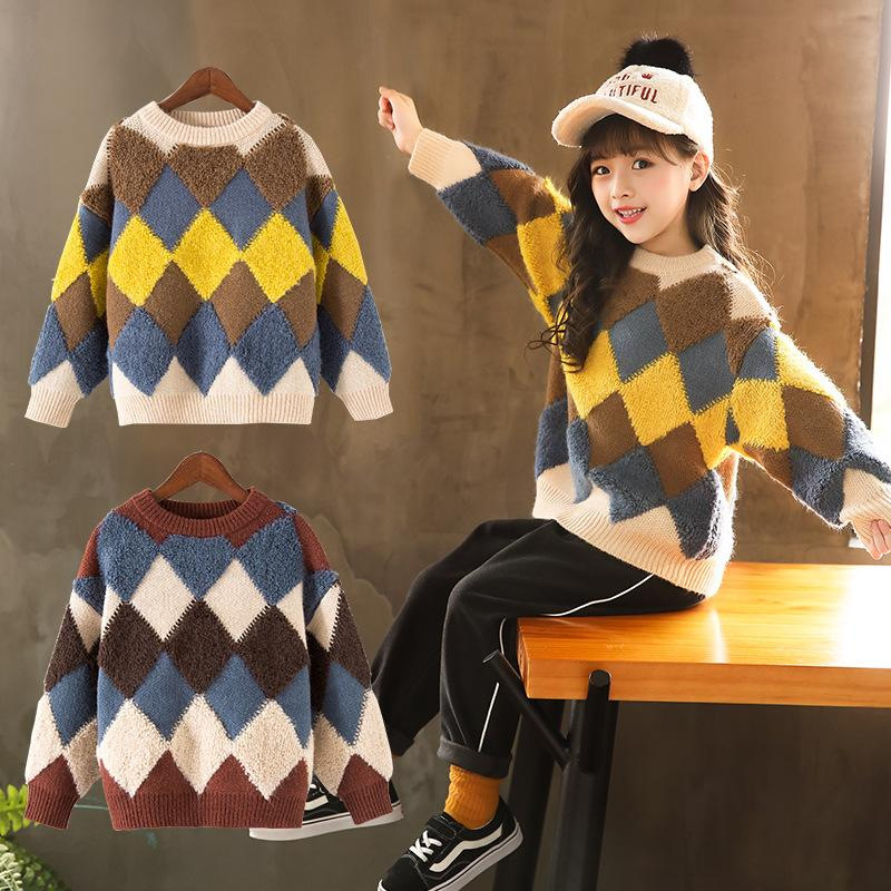 67f15e7c6 Autumn Winter Girls Knitted Pullover Sweater Long Sleeve Plaid Pattern Warm  Sweaters Top Kids Children Comfortable Soft Clothes Knitting Designs For  Kids ...