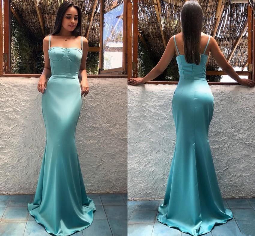 Compre Vestidos De Noche De La Sirena Del Estilo Árabe 2019 Correas De  Espagueti De La Trompeta Vestidos De Fiesta Largos Del Satén Vestidos De La  Fiesta De ... 9d348915de2e
