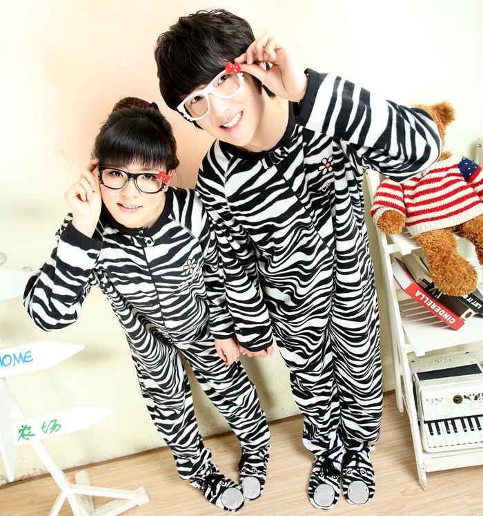 Adult Unisex Onesie Cute Zabra Pajamas Sleepsuit Winter Thick Warm Sleepwear Cosplay Costume Pyjamas For Men Women Performance