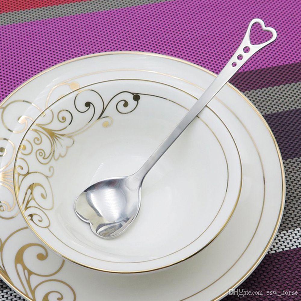 Amantes románticos en forma de corazón té de café de café Cuchara amante de la boda Favors vajilla de acero inoxidable 2 in1 coffee Spoon