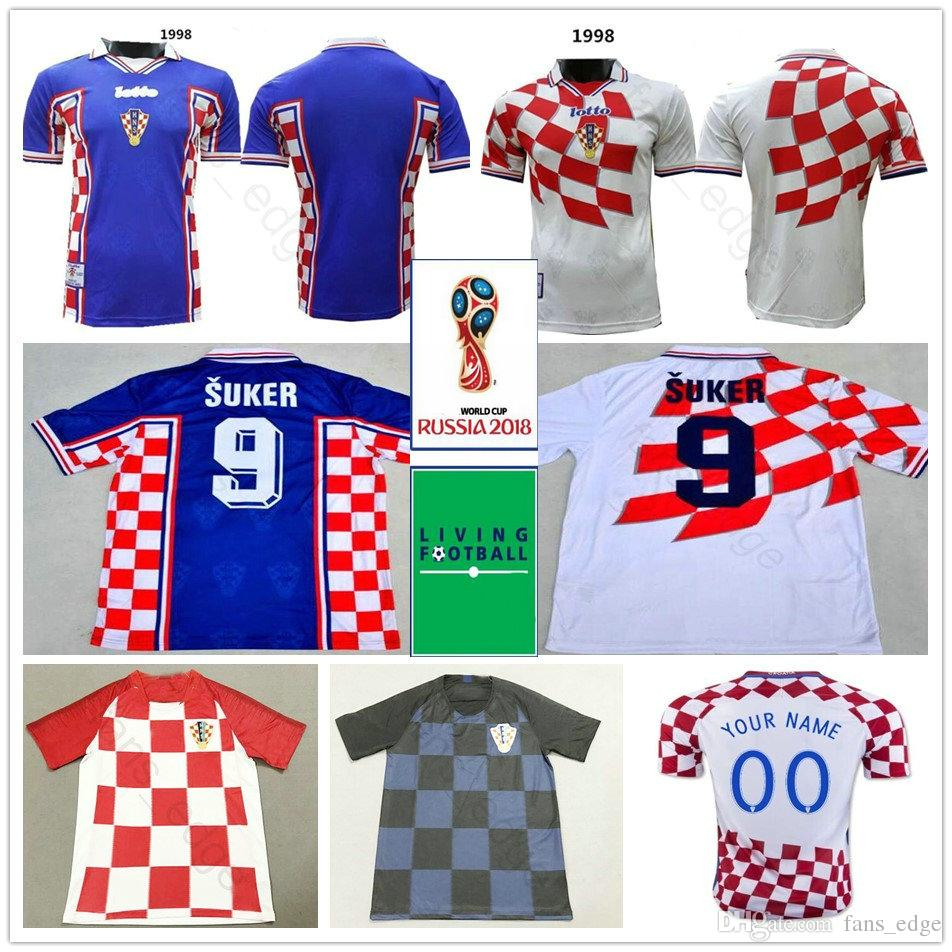 2019 1998 Classic Vintage Croatiaes Soccer Jerseys Home Away Blue White 9  Suker 10 BOBAN BILIC MODRIC Hrvatska HNS National Custom Football Shirt  From ... 5851f7aa3