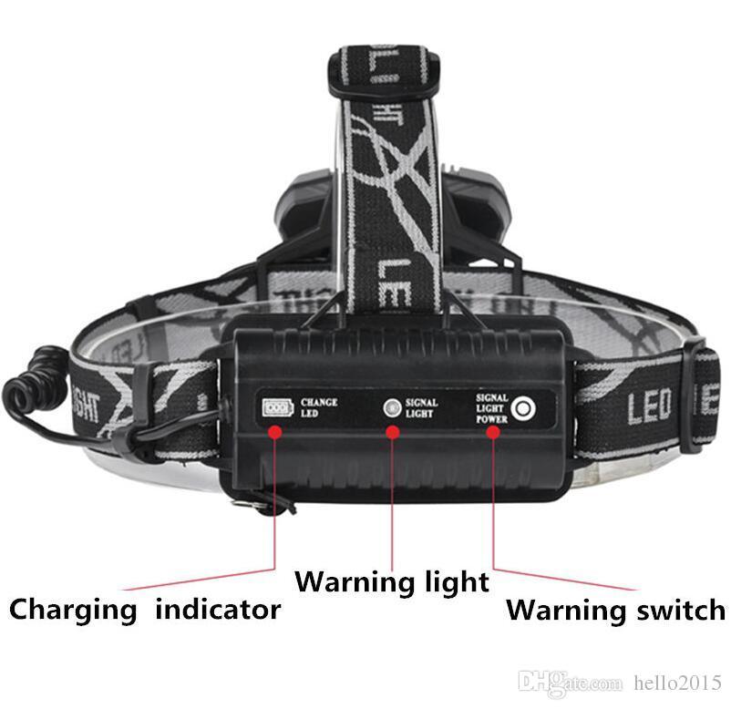 Super 25000LM 5X XML T6 LED Ricaricabile USB Torcia frontale Testa faro + 2x 18650 batteria