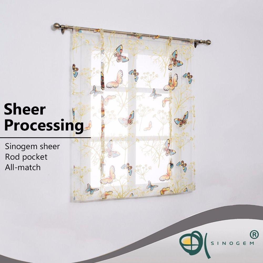 2019 sinogem tulle fabrics short curtains short kitchen curtains roman blinds butterfly design window treatments sheer curtain modern from smilemen