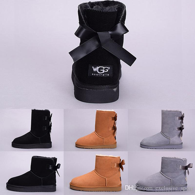 8a3c7acf5c9de Acheter UGG Australia Boot WGG Hiver Neige Femmes Boot Australie Grand  Court Kneel Bottines Noir Gris Bleu Marine Fille Lady Mode Plein Air  Chaussures ...