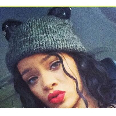 632eb268686 Autumn Winter Rihanna Cat Ears Knitted Hat Sweety Diamond Lace Cat Ears  Woolen Caps Creative Design Women S Knitted Caps Winter Hats Baby Sun Hat  Knit Hat ...