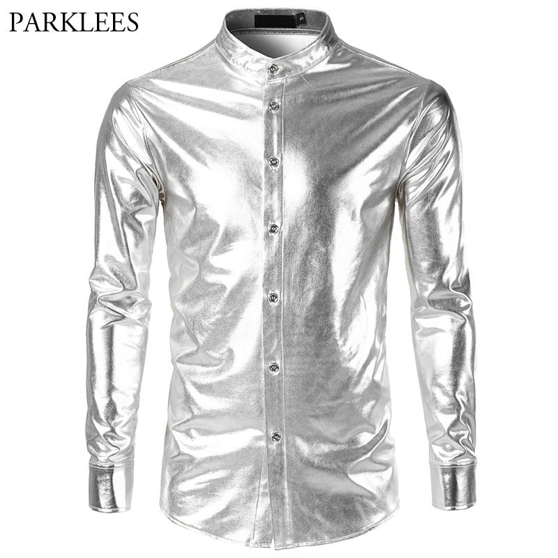 2018 Shiny Tuxedo Shirt Men Stand Collar Slim Fit Silver Mens Dress Shirts Night Club Stage Dance Long Sleeve Chemise Homme XXL