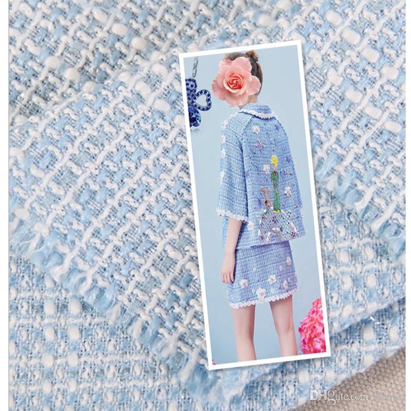 f933157432 Tessuto tweed da 1 metro per cucire tessuti in lana di poliestere stoffe  tinte in filo tinto in filo colore azzurro chiaro