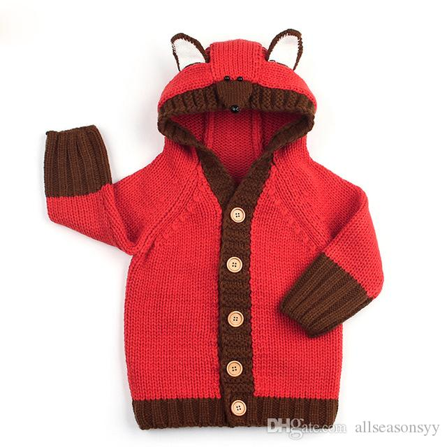 6d1490a292f2 Autumn 0 24M Fox Knit Newborn Sweaters Cardigans Clothes Baby Boy ...