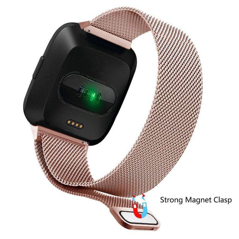Milanese Loop-Bügel-Handgelenk-Band-Wiedereinbau für Fitbit Versa / Versa 2 Edelstahl-Uhr-Band Magnetic Lock Armband